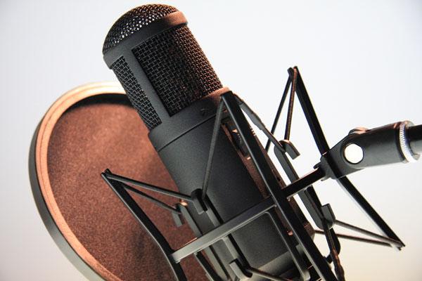 Bild eines Grossmembran-Mikrophons mit Popp-Schutz