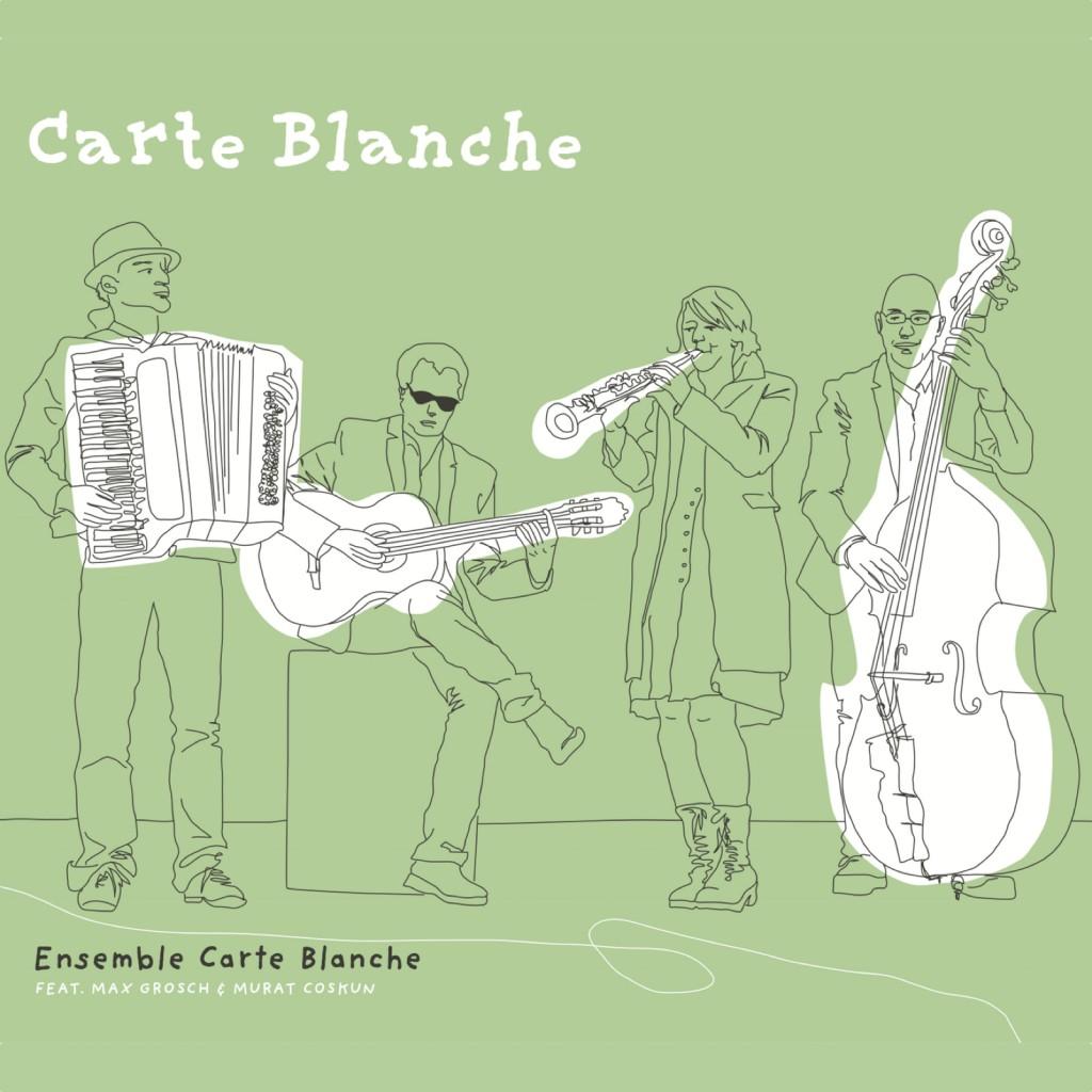 """CD Cover der CD """"Carte Blanche"""" vom Ensemble Carte Blanche"""" - zu sehen ist das Quartett beim Musizieren in einer Strichzeichnung von Heidi Armbruster."""